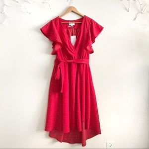 Anthropologie McGuire Red Flutter Sleeve Dress NWT